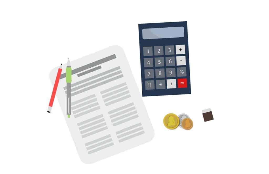 אילוסטרציה של מסמך למס עם מחשבון ועט